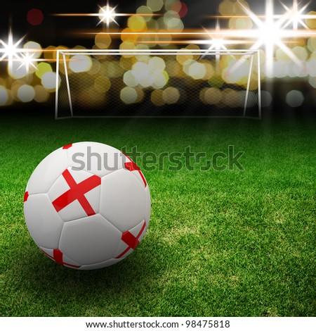 England flag on 3d football for Euro 2012 Group D - stock photo