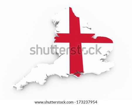 England flag on 3d map - stock photo