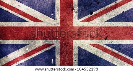 England flag painted on old wall background
