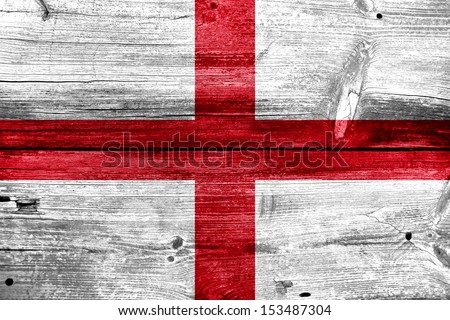 England Flag painted on old wood plank background - stock photo