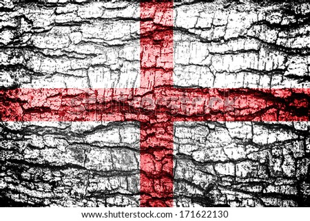 England Flag painted on old wood texture - stock photo