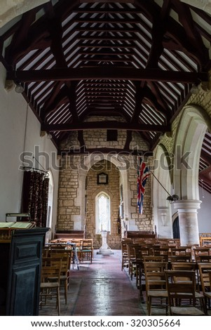 ENGLAND, GLOUCESTERSHIRE - 22 SEP 2015: Brookthorpe, St Swithun, 13th-century church with Victorian additions - nave A