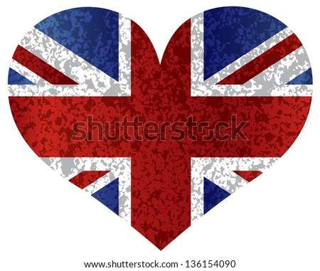 England Great Britain Union Jack Flag Heat Shape with Texture Raster Vector Illustration