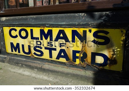 England, Howarth, 05/17/2015, old antique colmans mustard tin sign