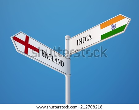 England India High Resolution Sign Flags Concept