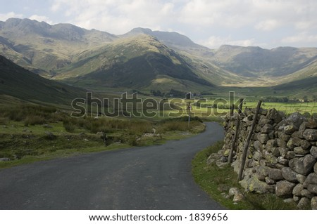 England lakeland scene mountain road in Scaffel area - stock photo