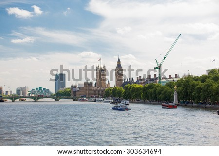 England, London - Big Ben, the Houses of Parliament  - stock photo