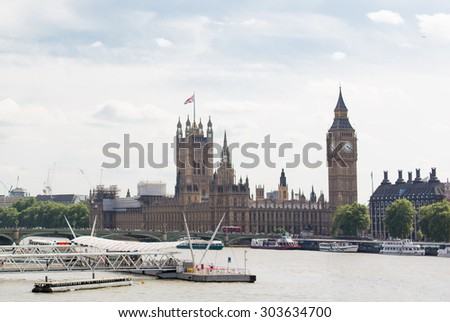 England, London - Big Ben, the Houses of Parliament in London city - stock photo
