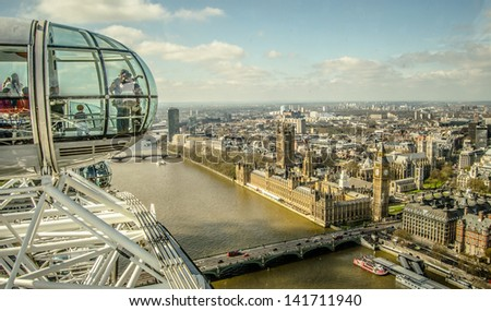 England, London, London Eye and cityscape - stock photo