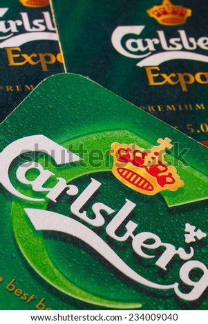 ENGLAND,LONDON - November 11, 2014:The Carlsberg is a Danish brewing company founded in 1847 by J. C. Jacobsen with headquarters located in Copenhagen,Denmark - stock photo