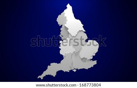 England Map - stock photo