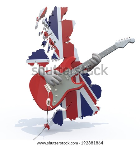 England map with arms that play electric guitar, 3d illustration - stock photo