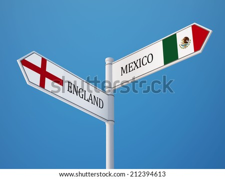 England Mexico High Resolution Sign Flags Concept