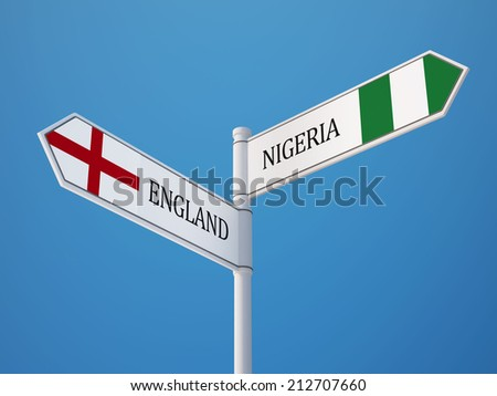 England Nigeria High Resolution Sign Flags Concept