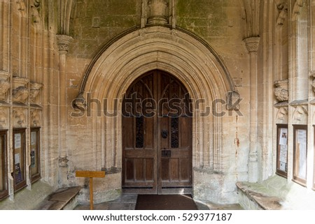 England, Northleach - October 21, 2016: SS Peter and Paul parish church Entrance Door