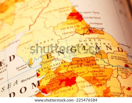 England  on atlas world map - stock photo