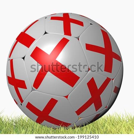 england soccer team - ball - grass - stock photo