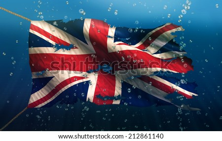 England UK Under Water Sea Flag National Torn Bubble 3D - stock photo