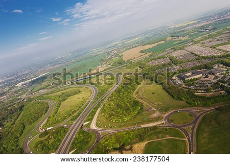 England view from airplane - stock photo