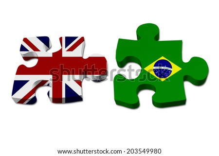 England working with Brazil, Puzzle pieces with the British flag and Brazilian flag isolated over white - stock photo