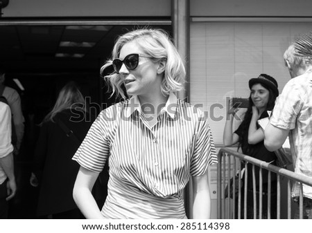 English actress Sienna Miller with fans during the 68th annual Cannes Film Festival on May 14, 2015 in Cannes, France. - stock photo