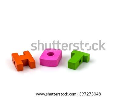 English alphabet, H.O.T. on white  background - stock photo