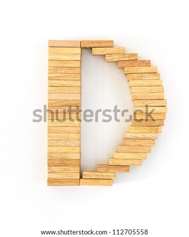 english alphabet  letters from wooden domino on white background, letter D