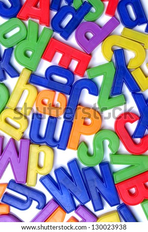 English alphabet letters in plastic toy characters