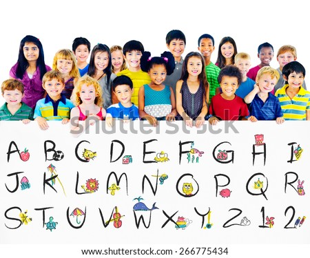 English Alphabet Letters Number Education Concept - stock photo