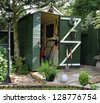 English back garden Shed and paved area - stock photo