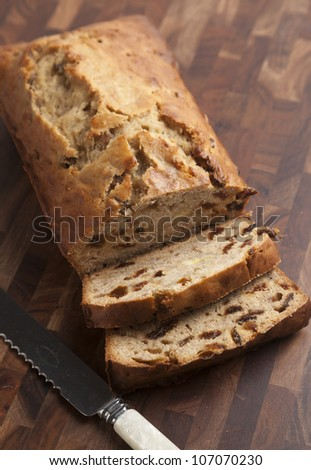 English banana tea loaf. - stock photo