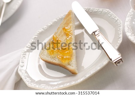 English breakfast with toast - stock photo