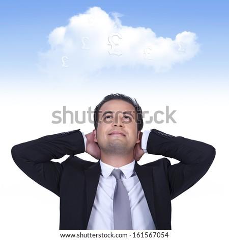 English businessman is thinking profitable cloud business - stock photo