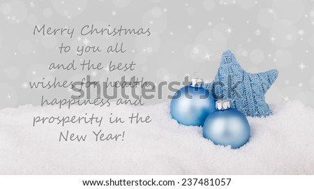 english Christmas card with blue christmas star/Best wishes for Christmas and a happy New Year/english