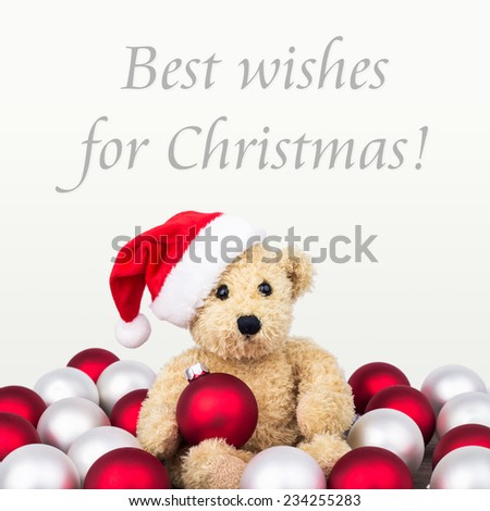 english Christmas card with teddy bear/Best wishes for Christmas/english