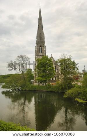 English church (Church of Saint Alban) in Copenhagen. Denmark - stock photo