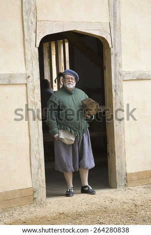 English colonist at James Fort, Jamestown Settlement, on the 400th Anniversary of Jamestown, Virginia, May 4, 2007 - stock photo