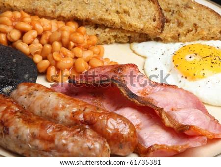 English cooked breakfast - stock photo
