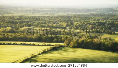 English countryside landscape in Spring late evening - stock photo