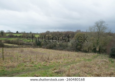 English countryside on a rainy day - stock photo