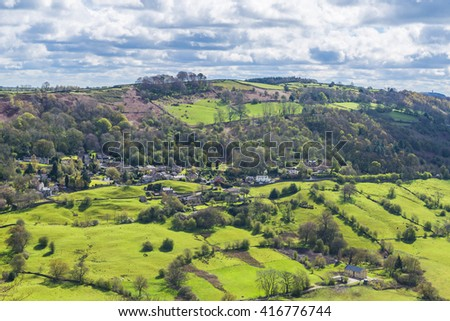 English countryside seen from Heights of Abraham, Derbyshire, UK