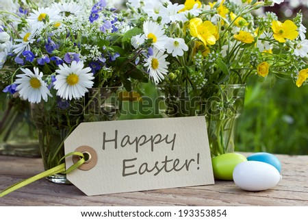 english easter card with wildflowers/happy easter/english - stock photo
