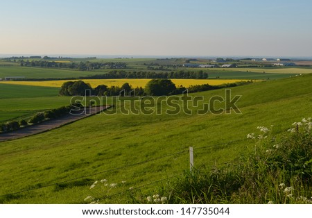English Farmland View in Summer - stock photo