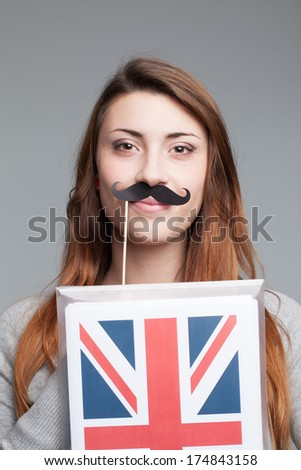 English female student with the British flag  - stock photo
