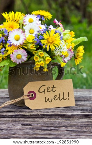 english Get well card with spring flowers/get well/english - stock photo