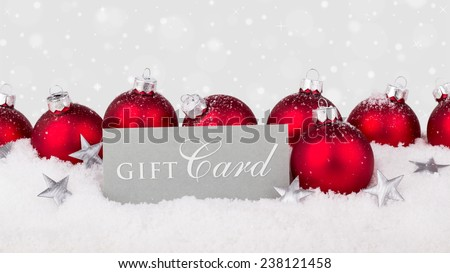 english gift card with red christmas tree balls/gift card/english - stock photo