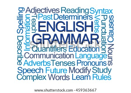 English Grammar Word Cloud on White Background