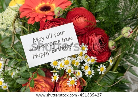 English greeting card Birthday with red flowers / Happy birthday / birthday card