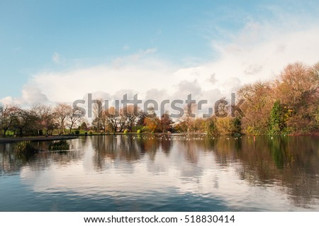 English lake in the park, Colorful Autumn in a sunny day.
