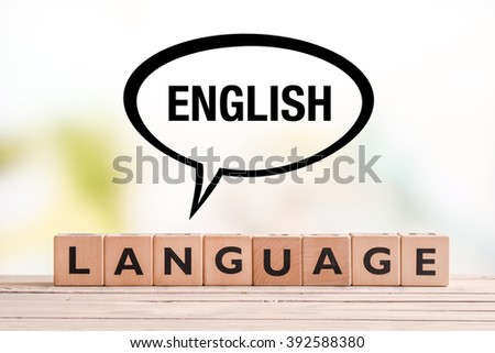 English language lesson sign made of cubes on a table - stock photo